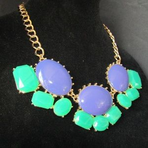 Jewelry - Purple & teal faux gemstones fashion necklace
